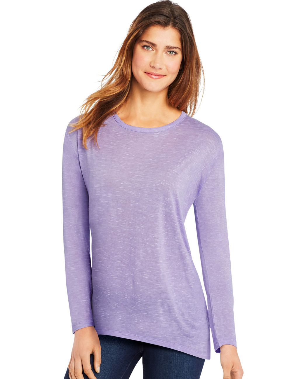 Hanes Womens Long-Sleeve Top with Center Back Lace Detail