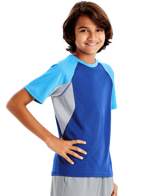 Hanes Boys Sport Performance Tech Mesh Pieced Tee