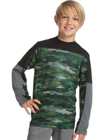 Hanes Boys Sport Long Sleeve Pieced Tech Tee