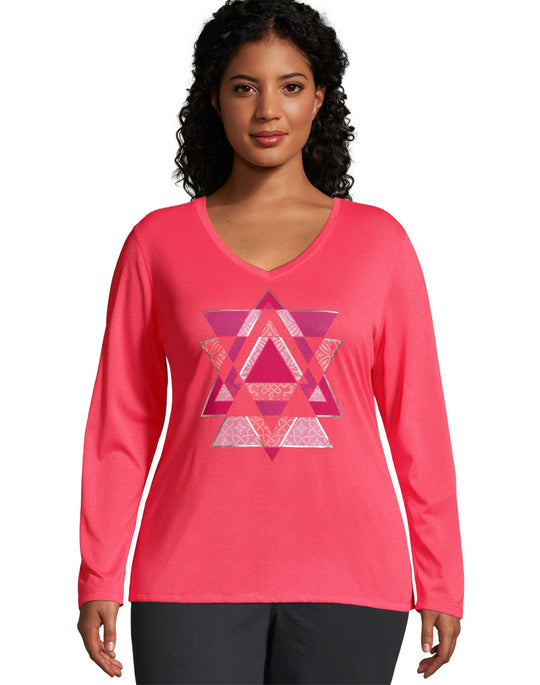 Just My Size Womens Long Sleeve Cool Dri V-Neck Graphic Tee