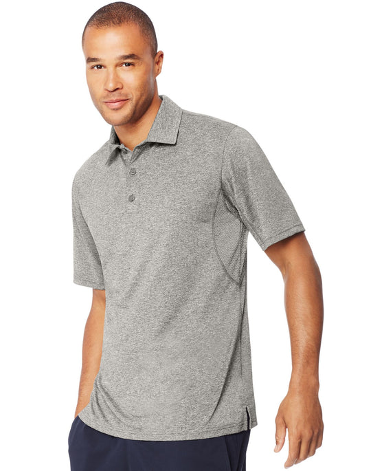 Hanes Mens Sport Heathered Performance Polo