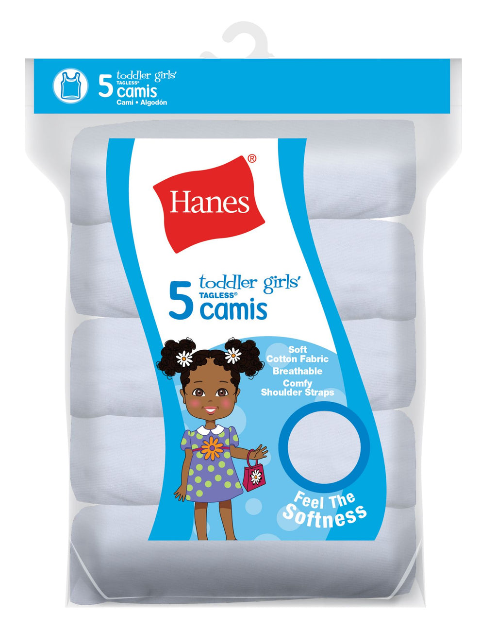 Hanes Girls` Ultimate TAGLESS Cotton Stretch 5-Pack Toddler Camis