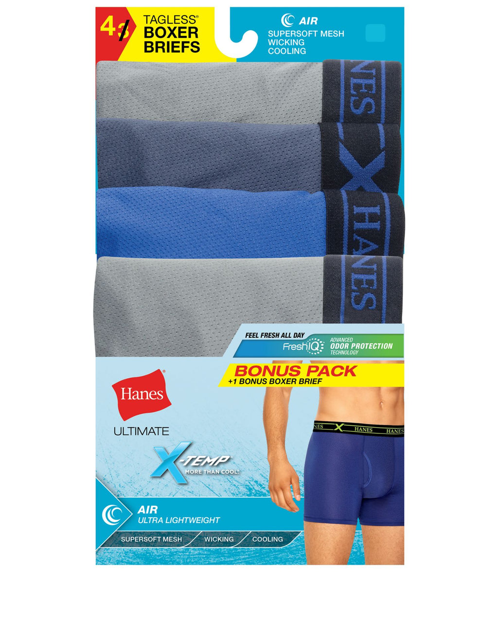 Hanes Mens Assorted Dyed X-Temp Air 4-Pack Poly Boxer Briefs