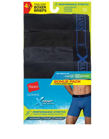 Hanes Mens Black/Gray X-Temp Perfect Stretch 4-Pack Poly Boxer Briefs