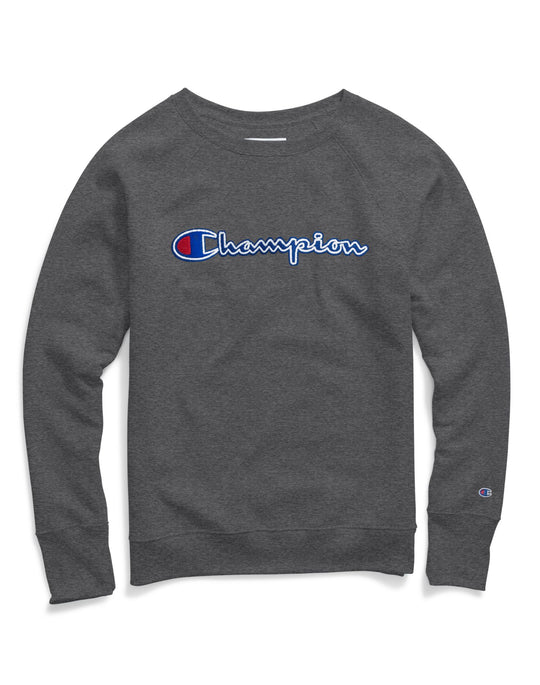 Champion Womens Powerblend Fleece Boyfriend Crew, Felt Logo