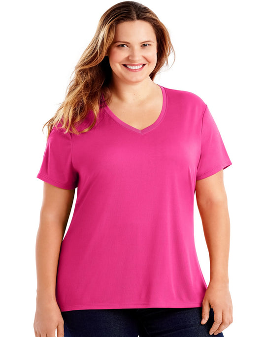 Just My Size Womens Cool DRI Short-Sleeve V-Neck Tee