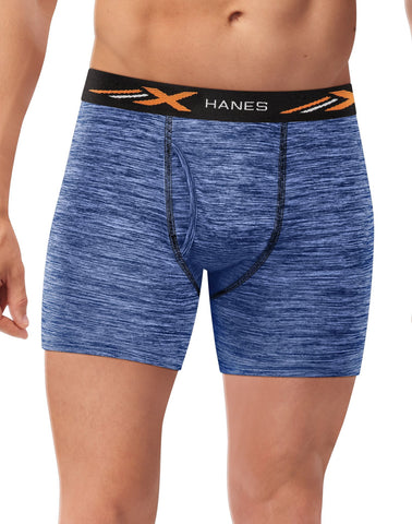 Hanes Mens X-Temp Performance Space Dye Boxer Brief 4-Pack