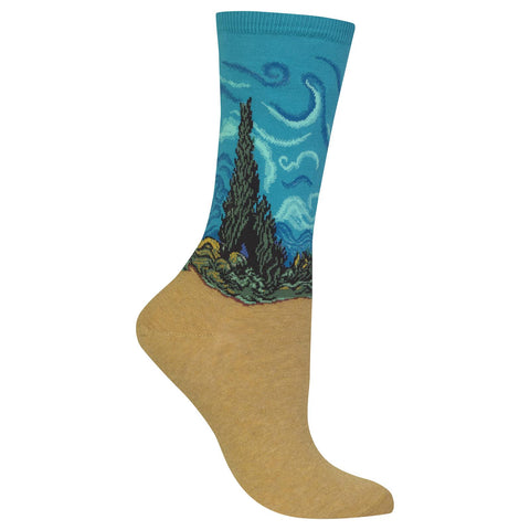 Hot Sox Womens Artist Series Wheat Field with Cypress Sock