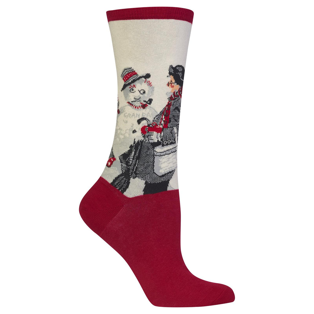 Hot Sox Womens Norman Rockwell Gramps and the Snowman Sock