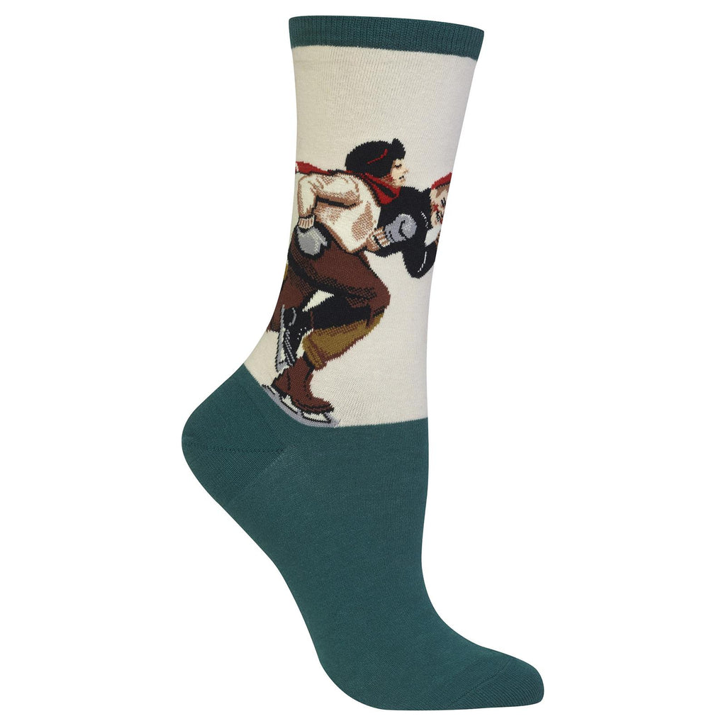 Hot Sox Womens Norman Rockwell Ice Skating Race Sock