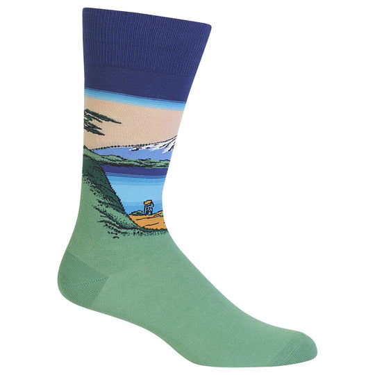 Hot Sox Mens Artist Series Mt. Fuji Over a Lake Sock