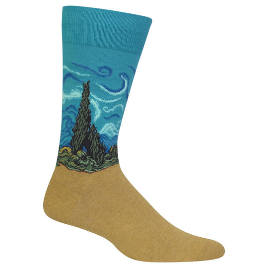 Hot Sox Mens Artist Series Wheat Field with Cypress Sock