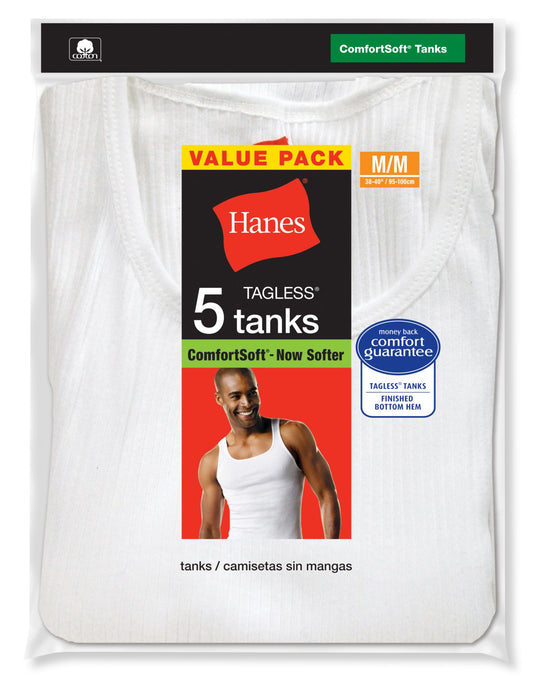 Hanes Men's TAGLESS ComfortSoft White A-Shirt 5 Pack