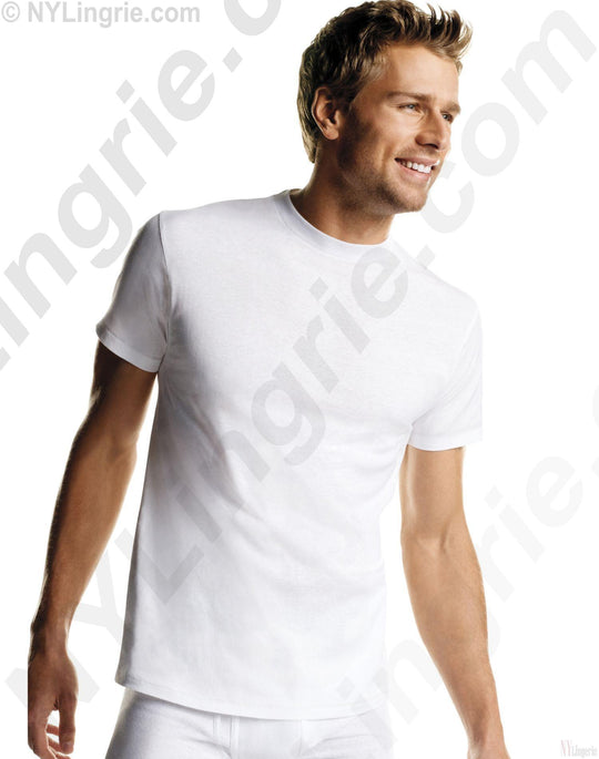 Hanes Men's White TAGLESS Crewneck Undershirt 3-Pack