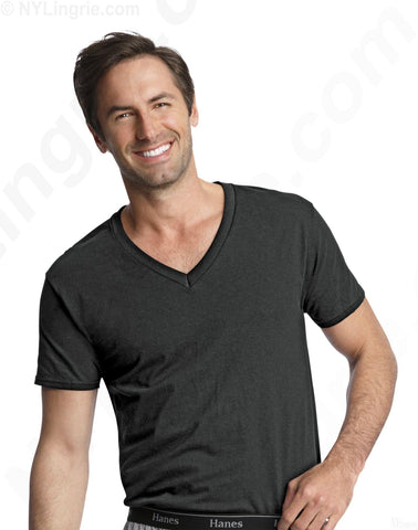 Hanes Classics Men's Traditional Fit Dyed V-Neck TAGLESS Undershirt 3-Pack