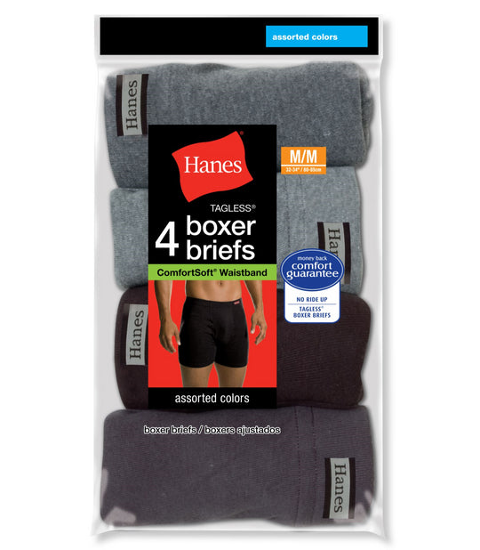 Hanes Men's TAGLESS Boxer Briefs with ComfortSoft Waistband 4-Pack