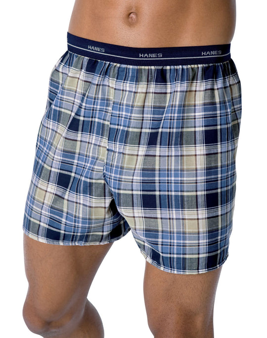 Hanes Men's Plaid Woven Boxers with Comfort Flex® Waistband 3 Pack