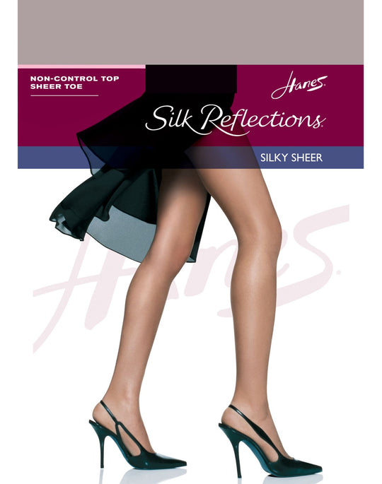Hanes Silk Reflections Non-Control Top, Sandalfoot Pantyhose 1 Pair Pack