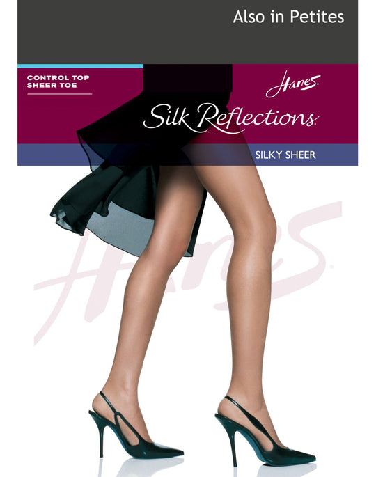 Hanes Silk Reflections Control Top Sandalfoot Pantyhose 1 Pair Pack