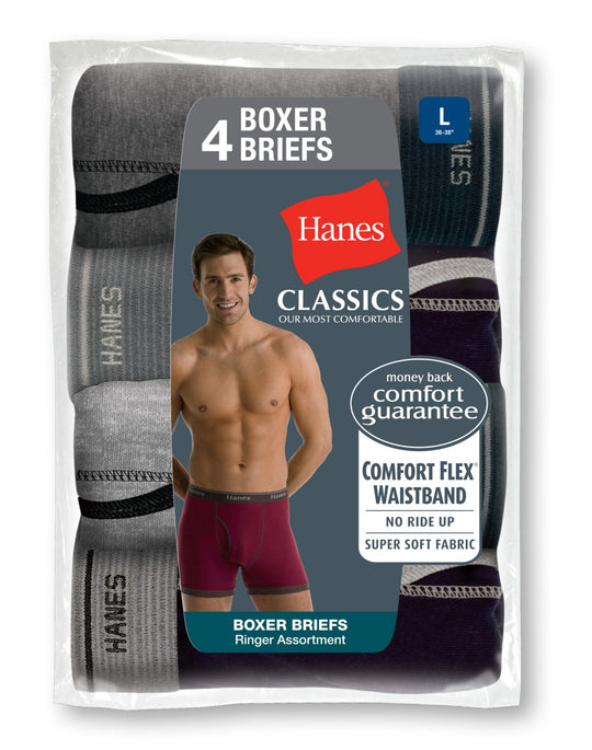 Hanes Classics Fashion Ringer Boxer Briefs 4 Pack