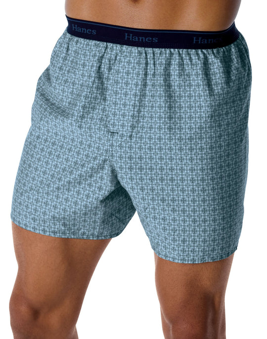 Hanes Men's Classics 5 Pack Printed Woven Exposed Waistband Boxer