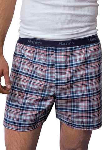 Hanes Classics Woven Boxers Black/Grey Assortment 4 Pack