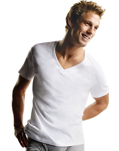 Hanes Men`s White TAGLESS ComfortSoft V-Neck Undershirt