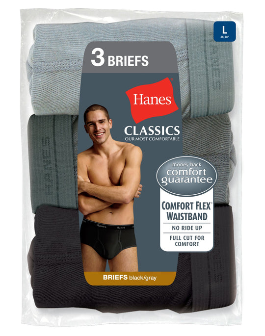 Hanes Classics Men's Briefs with Comfort Flex® Waistband Black/Grey  3 Pack
