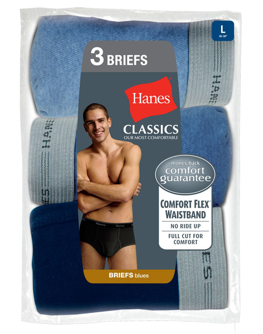Hanes Classics Men's Briefs with Comfort Flex® Waistband Blue 3 Pack