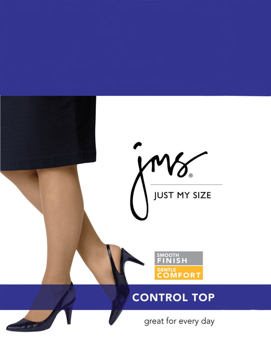 Just My Size Control Top, Reinforced Toe Pantyhose 2-Pack
