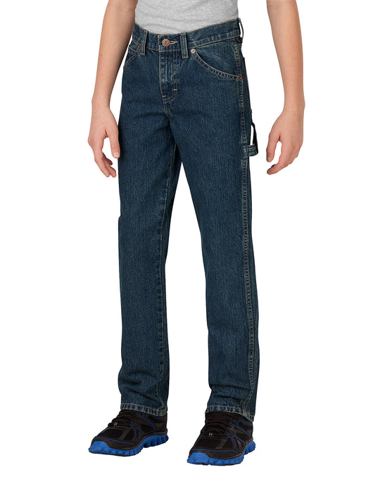 Dickies Boys FlexWaist Relaxed Fit Straight Leg Denim Carpenter Jeans, Sizes 4-7