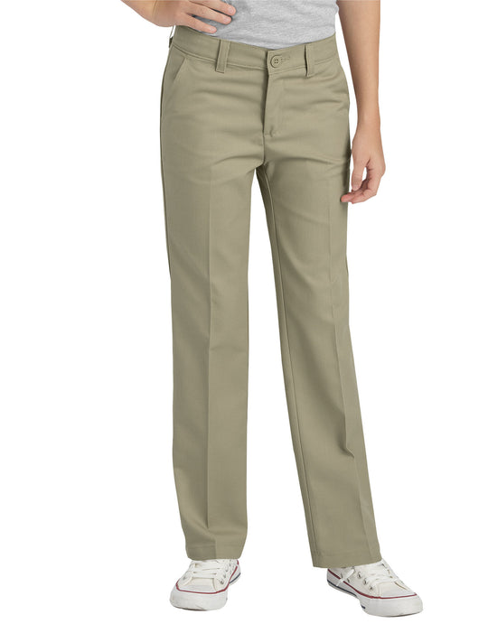 Dickies Girls FlexWaist Slim Fit Straight Leg Flat Front Pants, 7-16