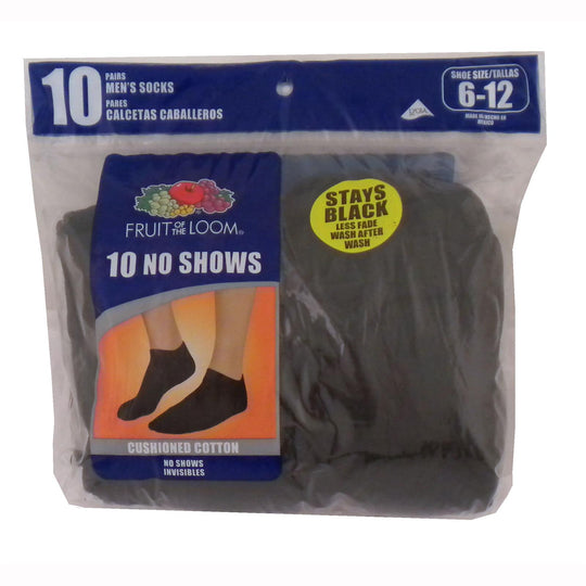 Fruit of the Loom Men`s Core Value 10 Pack No Show Socks