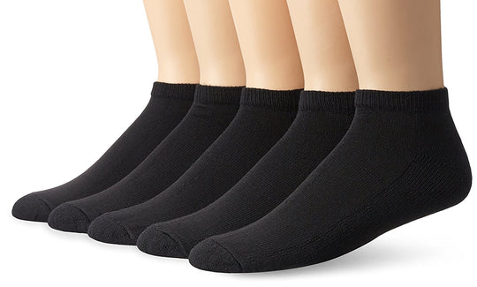 Fruit of the Loom Mens Core Stays Black 5 Pack No Show Sock