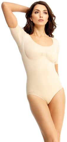 SlimMe By MeMoi womens Basic Control Shaping Bodysuit with Brief and Short Sleeves