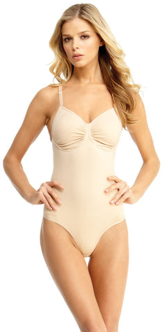 SlimMe By MeMoi Underwire and Wide Adjustable Straps Bodysuit with Thong