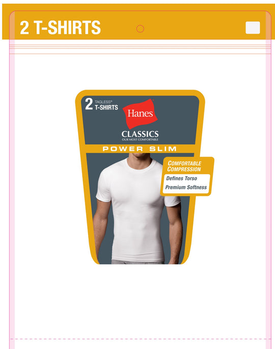 Hanes Classics Power Slim Crewneck Undershirt 2-Pack