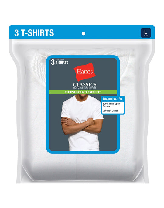 Hanes Classics Men's Traditional Fit ComfortSoft TAGLESS Crewneck Undershirt 3-Pack