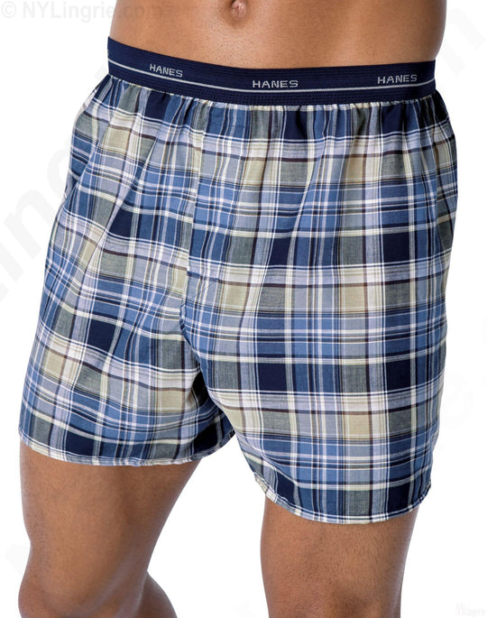 Hanes Men's Plaid Woven Boxers with Comfort Flex Waistband 5-Pack
