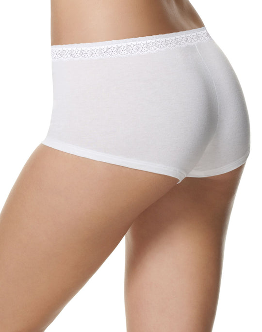 Hanes Womens Comfortsoft Cotton Stretch Lace Boy Briefs 3-Pack