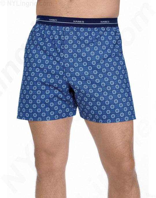 Hanes Men's Printed Woven Boxer with Comfort Flex Waistband 5-Pack