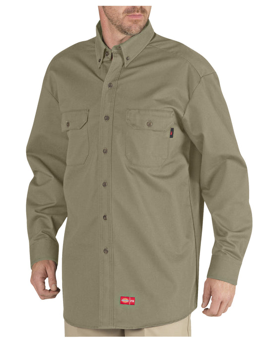 Dickies Mens Flame-Resistant Long Sleeve Twill Button-Down Shirt