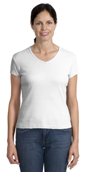 Hanes Women's Classic Fit V-Neck Tee 6.1 oz