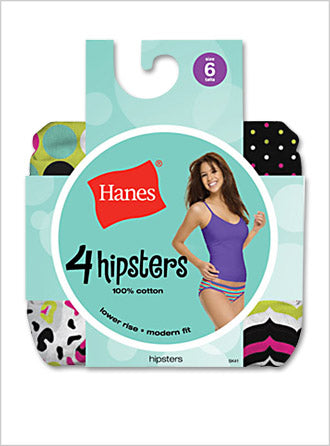 Hanes Womens 100% Cotton Fashion Hipster 4 Pack