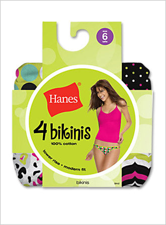 Hanes Womens 100% Cotton Fashion Bikini 4 Pack