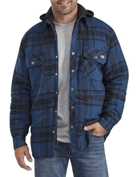 Dickies Mens Relaxed Fit Icon Hooded Quilted Shirt Jacket