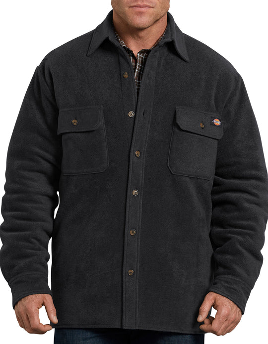 Dickies Mens Relaxed Fit Icon Micro Fleece Quilted Shirt Jacket