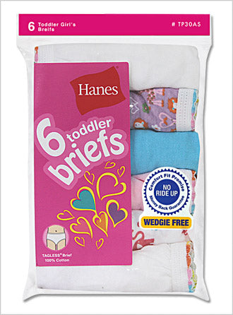 Hanes TAGLESS Toddler Girls' Cotton Briefs 6 Pack