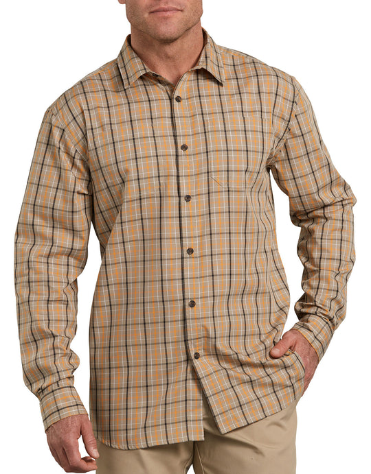 Dickies Mens Relaxed Fit Icon Long Sleeve Rinsed Plaid Shirt