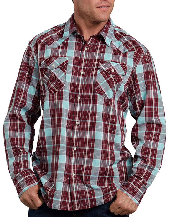 Dickies Mens Relaxed Fit Icon Long Sleeve Plaid Western Shirt